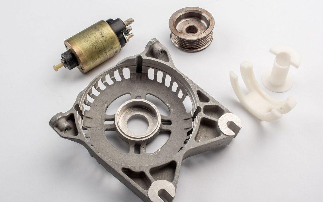 Starter Solenoid, Alternator Frame, Serpentine Pulley, Wire Bobbins, Wire Guide